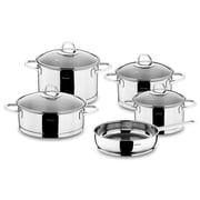 HISR Rio 9 Piece Stainless Steel Cookware Set