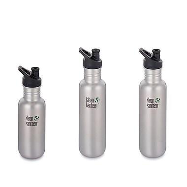 Klean Kanteen – Ensemble de bouteilles d'eau classique, acier inoxydable brossé (18 et 27 oz), 3/pqt