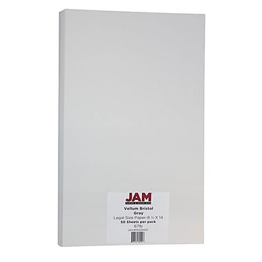 JAM Paper® Vellum Bristol Legal Cardstock, 8.5 x 14, 67lb Grey, 50/Pack (16928442)