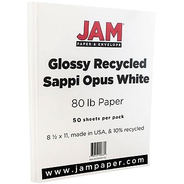 JAM PaperMD – Papier cartonné lustré, 8 1/2 x 11 po, blanc, 50/pqt
