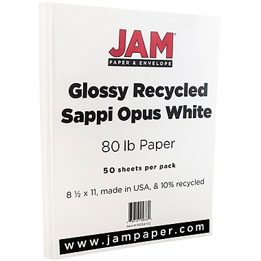 JAM Paper® Glossy Cardstock 2-sided, 8.5 x 11, 80lb White, 250/ream (1034702)