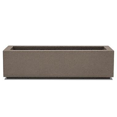 Poly-Stone Planters Rectangular Planter Box; Concrete Gray