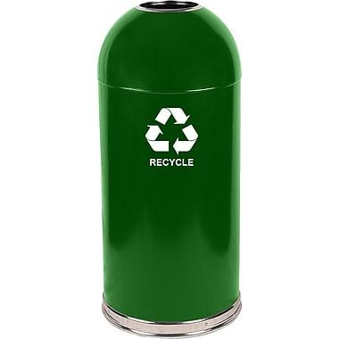 Witt Dome Top 15-Gal Metal Series Open Industrial Recycling Bin; Green