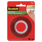 """Scotch Double-Sided Mounting Tape, Industrial Strength, 1"""" X 60"""", Clear/red Liner"""