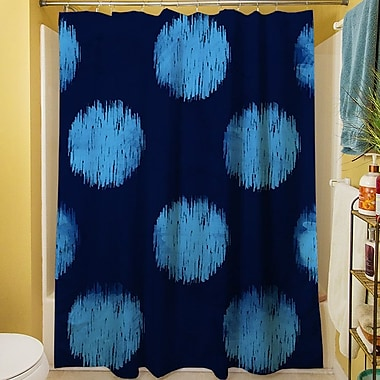 Manual Woodworkers & Weavers Big Dots Shower Curtain; Navy