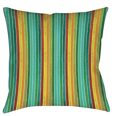 Manual Woodworkers & Weavers Aqua Bloom Stripes Printed Throw Pillow; 16'' H x 16'' W x 4'' D