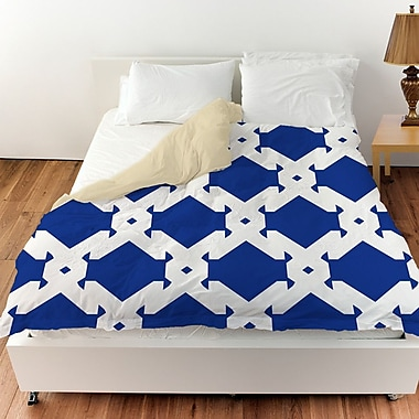 Manual Woodworkers & Weavers Modern Geometric Sapphire Duvet Cover; Twin
