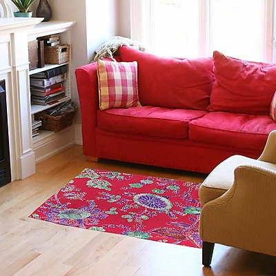 Manual Woodworkers & Weavers Anima Outline Pink Area Rug; 5'10'' x 4'4''