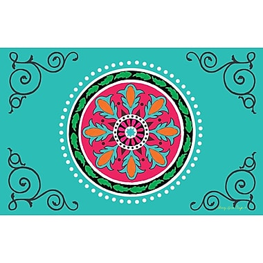 Manual Woodworkers & Weavers Boho Medallion Square Turquoise Area Rug; 5'10'' x 4'4''