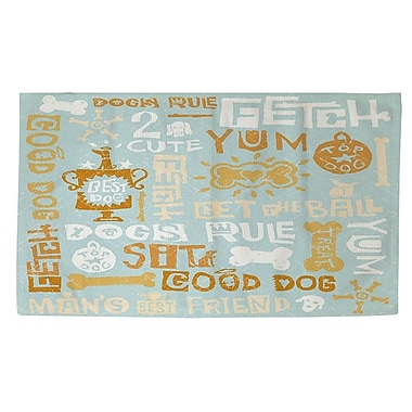 Manual Woodworkers & Weavers Dog Bark Blue Area Rug; 4' x 6'