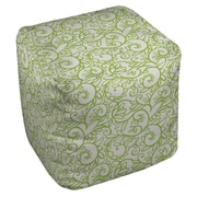 Manual Woodworkers & Weavers Funky Florals Swirl Pattern Ottoman; White