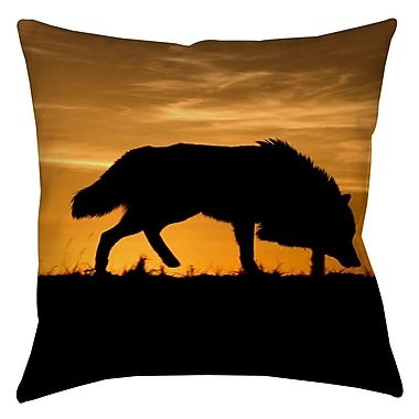 Manual Woodworkers & Weavers Wolf Silhouette Indoor/Outdoor Throw Pillow; 16'' H x 16'' W x 4'' D