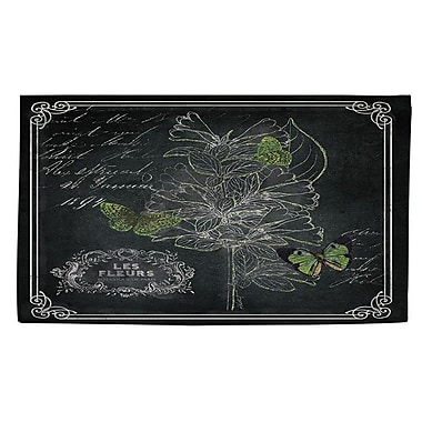 Manual Woodworkers & Weavers Chalkboard Botanical 2 Black/White Area Rug; 2' x 3'