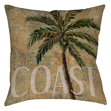 Manual Woodworkers & Weavers Coastal Palm Postcard Printed Throw Pillow; 16'' H x 16'' W x 4'' D