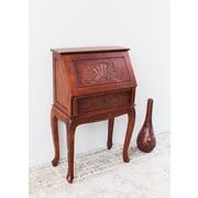 International Caravan Windsor Hand Carved Wood Secretary Desk by