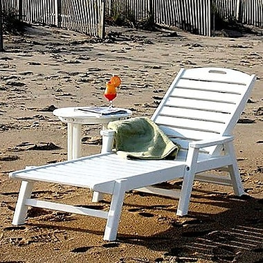 POLYWOOD Nautical Chaise Lounge; White