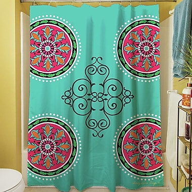 Manual Woodworkers & Weavers Boho Medallion Square Shower Curtain; Turquoise