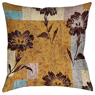 Manual Woodworkers & Weavers Floral Study in Blocks Printed Throw Pillow; 20'' H x 20'' W x 5'' D