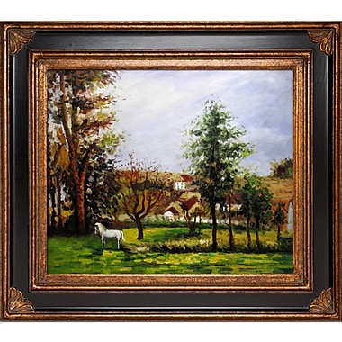 Tori Home Landscape w/ a Horse in a Meadow by Camille Pissarro Framed Painting