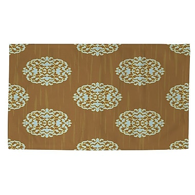 Manual Woodworkers & Weavers Bold in Blue Medallion Tan Area Rug; 4' x 6'