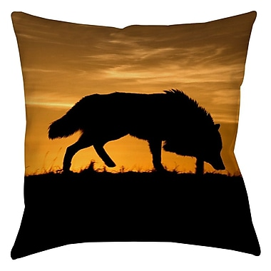 Manual Woodworkers & Weavers Wolf Silhouette Printed Throw Pillow; 18'' H x 18'' W x 5'' D
