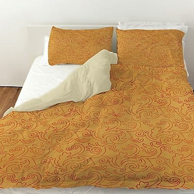 Manual Woodworkers & Weavers Zinnia Damask Duvet Cover; Queen