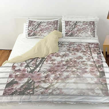 Manual Woodworkers & Weavers Cherry Blossom Stripes Duvet Cover; Queen