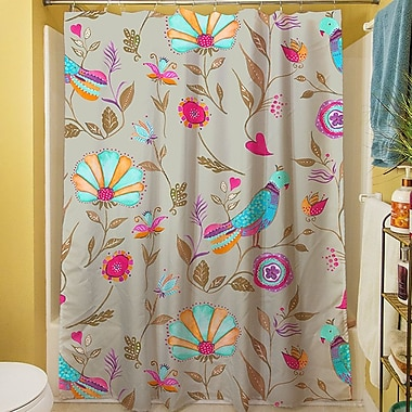 Manual Woodworkers & Weavers Early Bird Shower Curtain; Gray