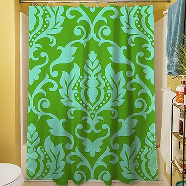 Manual Woodworkers & Weavers Francie Damask Shower Curtain; Green