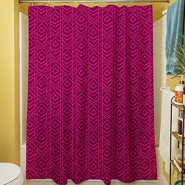 Manual Woodworkers & Weavers Sketched Ikat Shower Curtain; Purple