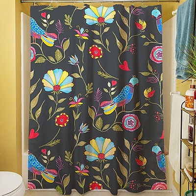 Manual Woodworkers & Weavers Early Bird Shower Curtain; Black