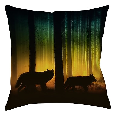 Manual Woodworkers & Weavers Tracking Wolves Indoor/Outdoor Throw Pillow; 16'' H x 16'' W x 4'' D