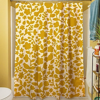 Manual Woodworkers & Weavers Ambrose Bird Shower Curtain; Yellow