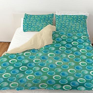 Manual Woodworkers & Weavers Aqua Bloom Dots Duvet Cover; King