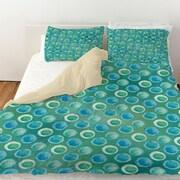 Manual Woodworkers & Weavers Aqua Bloom Dots Duvet Cover; Queen