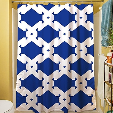 Manual Woodworkers & Weavers Modern Geometric Sapphire Shower Curtain