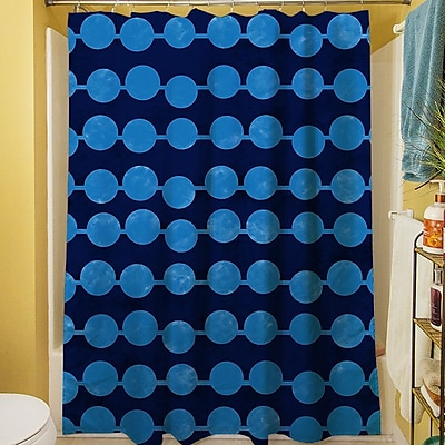 Manual Woodworkers & Weavers Line Dots Shower Curtain; Navy