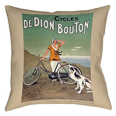 Manual Woodworkers & Weavers Cycles De Doin Bouton Printed Throw Pillow; 26'' H x 26'' W x 7'' D