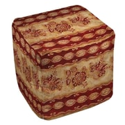 Manual Woodworkers & Weavers Damask Floral Stripes Ottoman