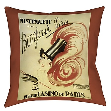 Manual Woodworkers & Weavers Bonjour Paris Printed Throw Pillow; 20'' H x 20'' W x 5'' D