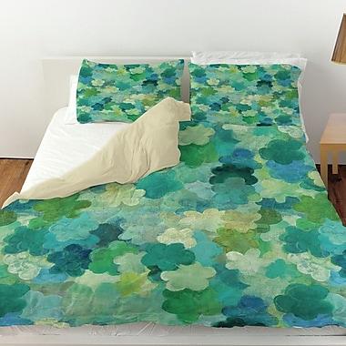 Manual Woodworkers & Weavers Aqua Bloom Water Blends Duvet Cover; Queen