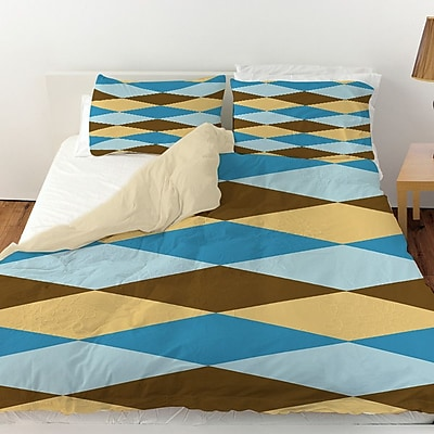 Manual Woodworkers & Weavers Bold in Blue Argyle Duvet Cover; Queen