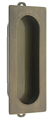idh by St. Simons Solid Brass Curtain Flush Pull; Antique Brass