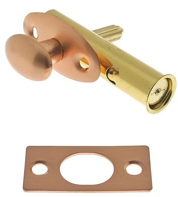 idh by St. Simons Solid Brass Mortise Door Bolt; Bright Copper
