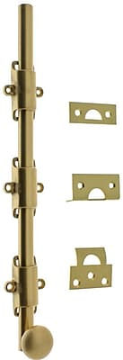 idh by St. Simons Solid Brass 12'' Heavy Duty Surface Bolt w/ Round Knob; Satin Brass
