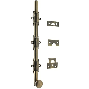 idh by St. Simons Solid Brass 12'' Heavy Duty Surface Bolt w/ Round Knob; Antique Brass