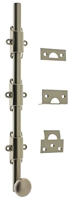 idh by St. Simons Solid Brass 12'' Heavy Duty Surface Bolt w/ Round Knob; Satin Nickel