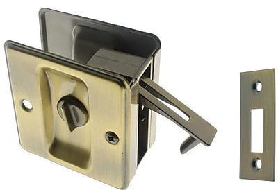 idh by St. Simons Solid Brass Pocket Privacy Pull; Antique Brass