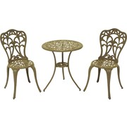 Meadow Decor Flora 3 Piece Bistro Set; Sand