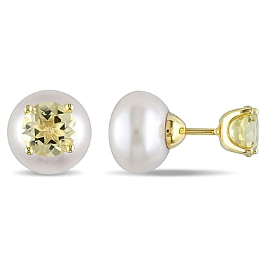 Allegro 12-12.5 MM White Freshwater Cultured Pearl & 3 1/2 CT TGW Lemon Quartz Tribal Earrings in Yellow Plated Sterling Silver